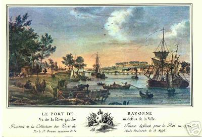 Le_port_de_Bayonee_au_18_vue_de_la_rive_gauche_au_deban_de_la_ville